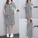 shirt Short Sleeve Black and white shirt skirt S M L XL 2XL 3XL Summer of 2019 cotton 96% and above Short sleeve commute Medium length other Single row multi button shirt sleeve stripe 25-29 years old Straight cylinder Murong Shuang Korean version mrs2019119 Pure e-commerce (online only)