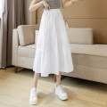 skirt Summer 2021 XL S M L White yellow black longuette commute High waist Cake skirt Type A More than 95% Han Yafei cotton fold Korean version Cotton 100% Pure e-commerce (online only)