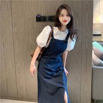 Dress Autumn 2020 Dark blue note: this model is more than half a size, 0889 green mosaic white S,M,L,XL longuette singleton  Sleeveless commute other other other A-line skirt other straps Button FFfJ2zTMM3JJ other other