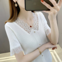 T-shirt S M L XL Summer 2021 Short sleeve V-neck Self cultivation Regular routine commute other 96% and above 25-29 years old Korean version Solid color Han Baiying Gauze lace Other 100% Pure e-commerce (online only)