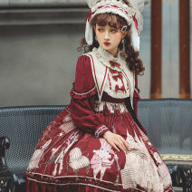 Dress Spring 2021 Black, Burgundy, brown S,XL,L,M Middle-skirt singleton  Long sleeves Sweet stand collar High waist other zipper Princess Dress routine Others 18-24 years old printing other polyester fiber