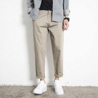 Casual pants Others Youth fashion Black, gray, dark gray, khaki, sand 28,29,30,31,32,33,34,35,36 thin Ninth pants Other leisure easy Micro bomb summer youth Exquisite Korean style 2020 middle-waisted Straight cylinder Cotton 97% polyurethane elastic fiber (spandex) 3% Tapered pants Pocket decoration