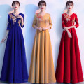 Dress / evening wear perform S M L XL XXL 3XL 4XL Gold red blue Korean version longuette middle-waisted Spring 2021 Fall to the ground Deep collar V Bandage 18-25 years old GLL210302 Long sleeves Embroidery Solid color Gelilan routine Other 100% Pure e-commerce (online only)