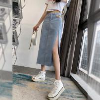 skirt Summer 2021 S,M,L,XL Black, blue Mid length dress commute High waist Denim skirt letter Type H 25-29 years old 402-4 71% (inclusive) - 80% (inclusive) other other Split Korean version
