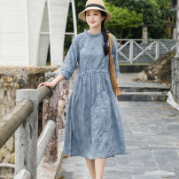 Dress Spring 2021 Blue grey S, M Mid length dress singleton  three quarter sleeve Sweet Crew neck Loose waist Solid color Socket A-line skirt Lotus leaf sleeve Others Type A Ruffles, pleats, embroidery, pleats, lace, bandages, buttons More than 95% cotton Mori