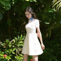 Dress Spring of 2019 white S,M,L,XL Short skirt singleton  Short sleeve commute Polo collar High waist Solid color Socket A-line skirt routine Others Type A Other / other Korean version 91% (inclusive) - 95% (inclusive) brocade