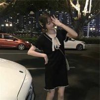 Dress Summer of 2019 Black, white S,M,L,XL Short skirt singleton  Short sleeve commute Doll Collar Loose waist Solid color Socket A-line skirt routine Others Type A Other / other Retro More than 95% knitting other