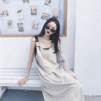 Dress Summer 2020 Khaki ok9007, black ok9007 S,M,L,XL longuette singleton  Sleeveless commute V-neck Loose waist Solid color Socket A-line skirt routine Others 18-24 years old Type A Retro other other