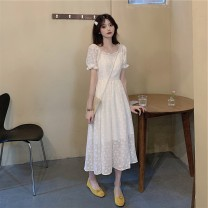 Women's large Summer 2020 Off white S M L XL singleton  commute Short sleeve Solid color Korean version square neck other bishop sleeve Yinlizi 18-24 years old Polyester 80% other 20% Pure e-commerce (online only)