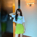 Women's large Summer 2020 Grey Top + purple skirt white top + green skirt S L M Two piece set commute Korean version Crew neck 8025# Yinlizi 71% (inclusive) - 80% (inclusive) Short skirt Cotton 100% Pure e-commerce (online only)