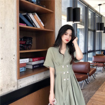 Women's large Summer 2020 Green black S M L XL singleton  commute Socket Short sleeve Solid color Retro V-neck routine Yinlizi 18-24 years old Button 51% (inclusive) - 70% (inclusive) longuette Other 100% Pure e-commerce (online only) Princess Dress