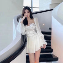 Women's large Spring 2021 white S M L XL XXL Dress singleton  commute Socket Long sleeves Korean version square neck routine Su Mengqing 18-24 years old Short skirt Other 100%