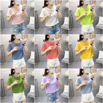 T-shirt M L XL Summer 2021 Short sleeve Crew neck easy have cash less than that is registered in the accounts routine commute polyester fiber 86% (inclusive) -95% (inclusive) 18-24 years old Korean version youth He Baiguan Polyester 95% polyurethane elastic fiber (spandex) 5%