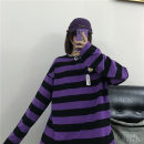 T-shirt Purple Stripe M L XL Autumn 2020 Long sleeves Crew neck easy Medium length routine commute polyester fiber 86% (inclusive) -95% (inclusive) 18-24 years old Korean version classic He Baiguan 6107-3 Polyester 95% polyurethane elastic fiber (spandex) 5% Exclusive payment of tmall