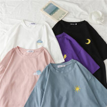 T-shirt M L XL XXL Summer of 2019 Short sleeve Crew neck easy Regular routine commute polyester fiber 86% (inclusive) -95% (inclusive) 18-24 years old Korean version youth Solid color mosaic He Baiguan Embroidery Polyester 95% polyurethane elastic fiber (spandex) 5% Pure e-commerce (online only)