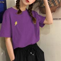 T-shirt Pink purple black blue white M L XL XXL Summer 2020 Short sleeve Crew neck easy Medium length routine commute polyester fiber 86% (inclusive) -95% (inclusive) 18-24 years old Korean version youth He Baiguan 5715-5 Polyester 95% polyurethane elastic fiber (spandex) 5%
