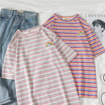 T-shirt Shallow strip Deep Strip M L XL XXL Summer of 2019 Short sleeve Crew neck easy Regular routine commute polyester fiber 86% (inclusive) -95% (inclusive) 18-24 years old Korean version youth He Baiguan Polyester 95% polyurethane elastic fiber (spandex) 5% Exclusive payment of tmall
