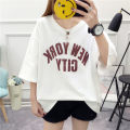 T-shirt white M L XL Summer of 2018 Short sleeve V-neck easy Regular routine Sweet polyester fiber 86% (inclusive) -95% (inclusive) 18-24 years old youth Letter solid color mosaic He Baiguan Print stitching Polyester 95% polyurethane elastic fiber (spandex) 5% Pure e-commerce (online only) college
