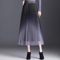 skirt Spring 2021 One size fits all Black grey red coffee pink purple black blue grey longuette commute High waist Pleated skirt Solid color Type A 25-29 years old BSQ20216 91% (inclusive) - 95% (inclusive) Xuan LAN polyester fiber fold Korean version Other polyester 95% 5%