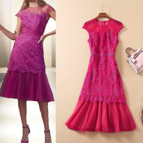 Dress Summer 2021 Purplish red S,XL,L,M Mid length dress singleton  Short sleeve commute Crew neck High waist other zipper Ruffle Skirt Wrap sleeves Others 30-34 years old Embroidery, stitching, mesh 51% (inclusive) - 70% (inclusive) other polyester fiber