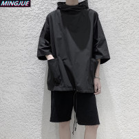 Sweater Youth fashion Mingjue T710 black T710 green M L XL 2XL Solid color Socket routine Hood summer easy leisure time teenagers Japanese Retro Off shoulder sleeve MJ-T1710-45 polyester fiber Polyethylene terephthalate (polyester) 100% No iron treatment Summer 2021 Three dimensional bag