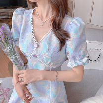 Dress Summer 2021 Picture color XS,S,M,L,XL Mid length dress singleton  Short sleeve commute V-neck High waist Decor other puff sleeve Others Type A Other / other 31% (inclusive) - 50% (inclusive) other