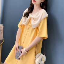 Dress Summer 2021 Orange yellow rose pink black Average size Mid length dress singleton  elbow sleeve commute Doll Collar Loose waist routine Others 18-24 years old Type H Fanya Korean version printing FY3609 91% (inclusive) - 95% (inclusive) cotton Pure e-commerce (online only)
