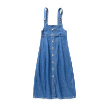 Dress commute Pendulum type Type A Simplicity Summer 2021 Medium length skirt singleton  Sleeveless Solid color other High waist other 18-24 years old Single breasted 81% (inclusive) - 90% (inclusive) cotton straps 605 Denim Button S,M,L,XL