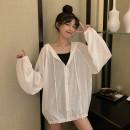 Women's large Spring 2021, summer 2021 Blue, white, pink, violet S (75-95 kg), m (95-105 kg), l (105-120 kg), XL (120-140 kg), 2XL (140-160 kg), 3XL (160-180 kg), 4XL (180-200 kg) Jacket / jacket singleton  commute easy moderate Cardigan Long sleeves Solid color Korean version Hood Medium length