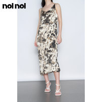 Dress Summer 2020 Apricot black M L Mid length dress singleton  Sleeveless commute V-neck High waist Abstract pattern zipper A-line skirt routine camisole 25-29 years old Type A NOLNOL Retro Zipper printing N613022L34 More than 95% Chiffon polyester fiber Polyester 100%