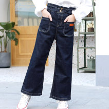 trousers Basil bean female 130cm 140cm 150cm 160cm 170cm Black wide legged pants spring and autumn trousers leisure time There are models in the real shooting Jeans Leather belt High waist Cotton denim Don't open the crotch Cotton 92.4% polyester 6.1% polyurethane elastic fiber (spandex) 1.5% Class B