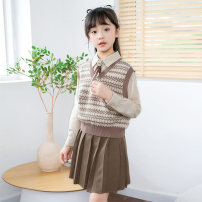 suit Basil bean 130cm 140cm 150cm 160cm 170cm female spring and autumn Korean version Long sleeve + skirt 3 pieces routine There are models in the real shooting Socket nothing Solid color other children Expression of love Class B Other 100% Spring 2021 Chinese Mainland Zhejiang Province Taizhou City