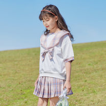 suit Basil bean suit 120cm 130cm 140cm 150cm 160cm 170cm female summer college Short sleeve + skirt 2 pieces routine There are models in the real shooting Socket nothing cotton children Expression of love X51 Class B Cotton 100% Summer 2021 Chinese Mainland Zhejiang Province Taizhou City