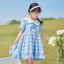 Dress female Basil bean 120cm 130cm 140cm 150cm 160cm 170cm Cotton 100% summer Korean version Short sleeve lattice cotton A-line skirt Class B Summer 2021 4 years old, 5 years old, 6 years old, 7 years old, 8 years old, 9 years old, 10 years old, 11 years old, 12 years old, 13 years old, 14 years old