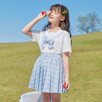 suit Basil bean suit 120cm 130cm 140cm 150cm 160cm 170cm female summer fresh Short sleeve + skirt 2 pieces routine There are models in the real shooting Socket nothing lattice cotton children Expression of love X50 Class B Cotton 100% Summer 2021 Chinese Mainland Zhejiang Province Taizhou City
