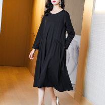 Women's large Spring 2021 black M L XL XXL XXXL Dress singleton  commute easy moderate Socket Long sleeves Korean version Crew neck Medium length routine Fire sleeve 35-39 years old Medium length Other 100% Pure e-commerce (online only) other
