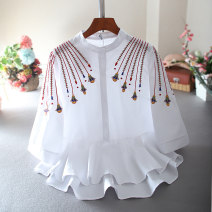 shirt White, blue M,L,XL Summer 2020 cotton 81% (inclusive) - 90% (inclusive) elbow sleeve commute Regular stand collar Socket routine Broken flowers High waist type ethnic style MX200320-1 Lace, embroidery Brocade cotton