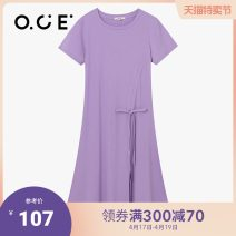 Dress Summer 2020 Black light purple S M L XL S/1 M/1 L/1 XL/1 Mid length dress Short sleeve commute Crew neck other 25-29 years old OCE Simplicity 91% (inclusive) - 95% (inclusive) cotton Cotton 93.1% polyurethane elastic fiber (spandex) 6.9% Same model in shopping mall (sold online and offline)