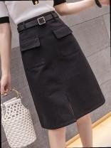 skirt Summer 2020 S,M,L,XL Versatile A-line skirt Type A 18-24 years old brocade Pocket, zipper