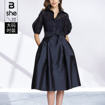 Women's large Summer 2021 Dark blue (with belt) Large L (pre-sale 6 days) Large XL (pre-sale 6 days) large 2XL (pre-sale 6 days) large 3XL (pre-sale 6 days) large 4XL (pre-sale 6 days) large 5XL (pre-sale 6 days) Dress singleton  street Straight cylinder thin Socket elbow sleeve Other solid colors