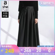 Women's large Spring 2021 Black (with belt) Large L Large XL Large 2XL large 3XL large 4XL large 5XL skirt singleton  street Self cultivation moderate Solid color polyester Three dimensional cutting bq3551 Binghan clothing house 35-39 years old belt longuette Polyester 100% Europe and America
