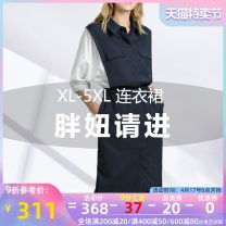 Women's large Summer 2020 Color matching Large L Large XL Large 2XL large 3XL large 4XL large 5XL Dress singleton  street easy moderate Socket elbow sleeve Polo collar Medium length Three dimensional cutting routine Binghan clothing house 35-39 years old pocket Medium length other Europe and America