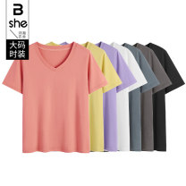 Women's large Summer 2021 White purple black lemon rubber red cement gray Large L Large XL Large 2XL large 3XL large 4XL large 5XL T-shirt singleton  street Self cultivation moderate Socket Short sleeve V-neck routine Three dimensional cutting routine bx5427 Binghan clothing house 35-39 years old