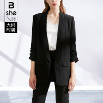 Women's large Spring 2021 black suit singleton  street Self cultivation moderate Cardigan three quarter sleeve Solid color other routine Polyester others Three dimensional cutting routine Binghan clothing house 35-39 years old pocket Pure e-commerce (online only) Europe and America