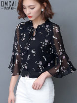 shirt S M L XL 2XL 3XL 4XL Summer of 2019 polyester fiber 96% and above Short sleeve commute Regular V-neck Socket pagoda sleeve Broken flowers 35-39 years old Straight cylinder Beautiful dream color Korean version Lace up printing Polyester 100% Pure e-commerce (online only)