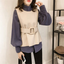 T-shirt Apricot shirt + Tibetan vest (for belt) blue shirt + apricot vest (for belt) S M L XL XXL 3XL 4XL Autumn of 2018 Long sleeves stand collar Two piece set Regular routine commute other 96% and above 18-24 years old Korean version originality Mi Jiaqi Other 100%