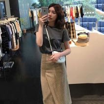 Women's large Summer 2021 L XL S M Dress Two piece set commute easy Socket Short sleeve Korean version routine QW2 Geessoew / geese 18-24 years old Middle-skirt Other 100% Pure e-commerce (online only)