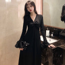 Dress Autumn of 2019 black S M L XL 2XL 3XL 4XL Mid length dress singleton  Long sleeves commute V-neck High waist Socket Big swing pagoda sleeve Others 18-24 years old Geessoew / geese Korean version More than 95% other Other 100% Same model in shopping mall (sold online and offline)