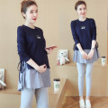 T-shirt Crew neck M,L,XXL,XL Other / other Blue top, suit [Blue Top + low waist grey pants] Long sleeves spring and autumn Korean version Medium length Abstract pattern routine Pure cotton (95% and above)