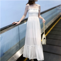 Dress Summer 2020 white S M L Mid length dress singleton  Sleeveless commute One word collar High waist Solid color Socket Ruffle Skirt camisole 18-24 years old Korean version Ruffled open back fold More than 95% other Other 100% Exclusive payment of tmall